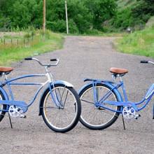 1949 & 1950 Blue His & Hers Vintage Schwinn Ballooner Bikes