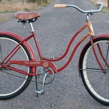 Vintage 1958 Orange Red Ladies DeluxeSchwinn Spitfire Cruiser Bike $665