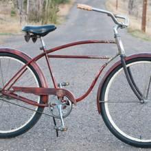 Vintage 1955 Patina Orange Schwinn Spitfire Cruiser Bicycle $750