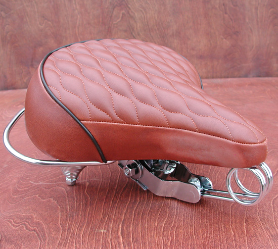 Seat: Classic Vintage Style Deluxe Cruiser Bike Saddle Quilted