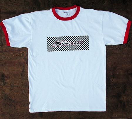 Tee: Vintage Stingray Bicycle Checker Stripe Design T Shirt