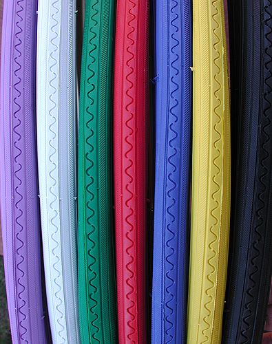 Tires: 2 RoadBike 27″x1 1/4″ Tires Solid Colors & Colored Sidewalls