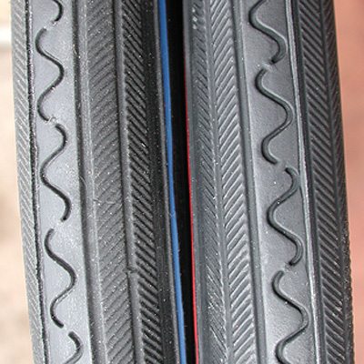 Tires: 2 RoadBike 27″x1 1/4″ Tires w Red, Blue, Green, or Yellow Line Stripe