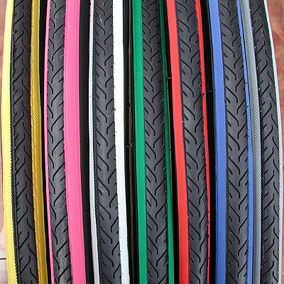 Tires: 2 Colored RoadBike 700 x 25c w Wide Color Stripes