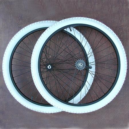 "Wheels: New Black Alloy 26″ Cruiser Bike Wheels ""Combo W/Colored Tires"" A-Set"